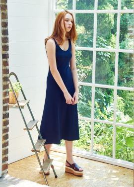 [THE LOOM/30%]JERSEY A_LINE ONEPIECE_NAVY