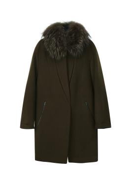 Racoon Fur Cashmere Blend Coat