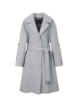 Sleeve Button A-Line Belted Coat