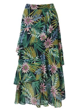 ★ Chiffon Tropical Pattern Long Skirt