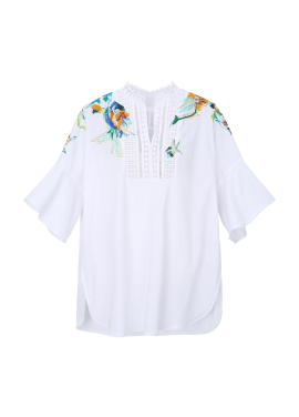 Flower Embroidery Detail Blouse