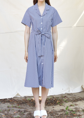 [BLUE BAGUETTE] CHECK SHIRTS ONE-PIECE_NAVY