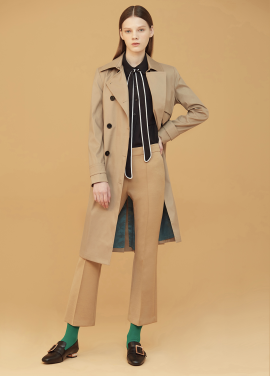 ◆ Rayon Blend Back Side Slit Trench Coat