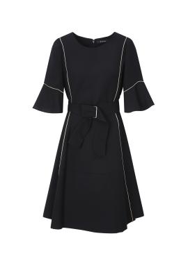 Sleeve Cuffs Belted A-Line Dress