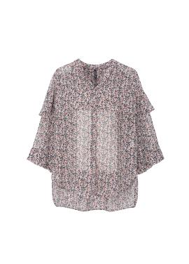 Flower Print Layered Sleeve Blouse