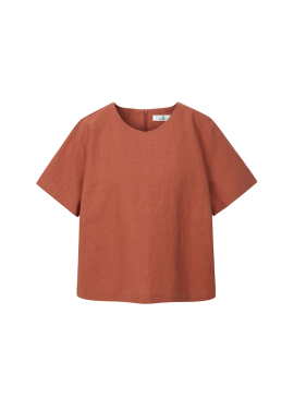 ★ Linen Blend Short Sleeve Blouse