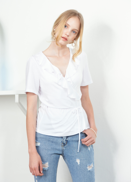 [VEMVER/10%]RUFFLE POINT WRAP TOP_WH