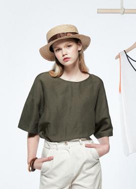 [URAGO]overfit linen blouse