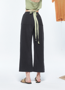[URAGO/15%기획SALE]lettering point linen wide pants