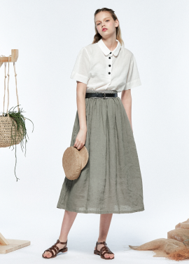 [URAGO]banding flare long skirt