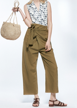 [URAGO]high-rise lap linen pants