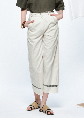 [URAGO]tape wide linen pants