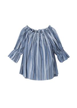 Cotton Stripe Off-Shoulder Blouse