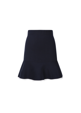 Hemline Colorblock Flare Knit Skirt