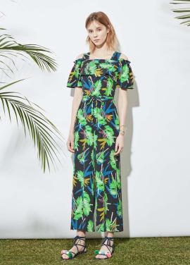 Tropical Patterned Off-Shoulder Jumpsuit