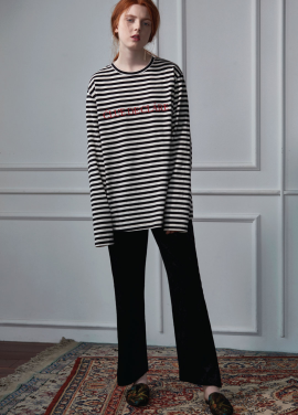 [CLUE DE CLARE]embroidered stripe T-shirt
