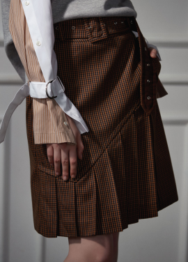 [CLUE DE CLARE]trench skirt brown