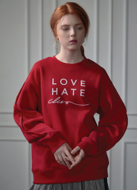 [CLUE DE CLARE]LOVE HATE sweat shirt red
