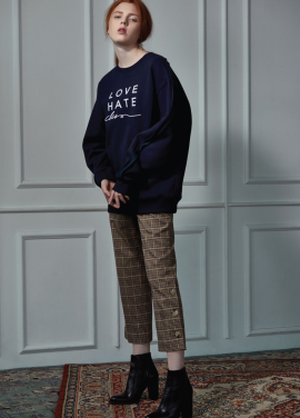 [CLUE DE CLARE]LOVE HATE sweat shirt navy