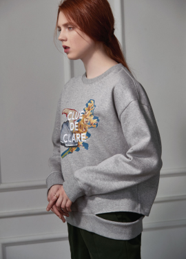 [CLUE DE CLARE]flower print sweat shirt gray