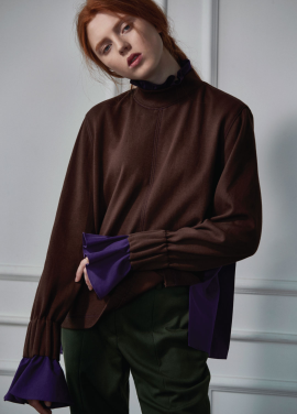 [CLUE DE CLARE]back pleats sweat shirt brown