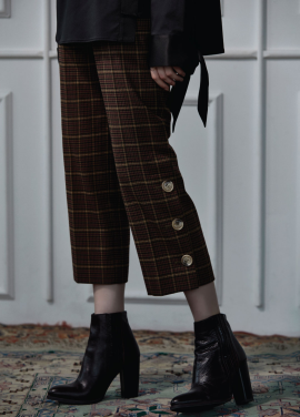[CLUE DE CLARE]button slit pants brown