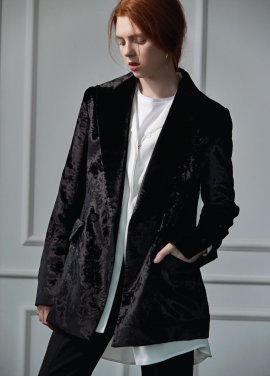 [CLUE DE CLARE]velvet double jacket black