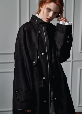 [CLUE DE CLARE]long field coat Black