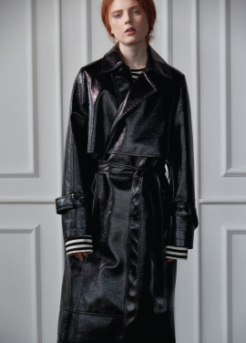 [CLUE DE CLARE]patent leather trench coat Black
