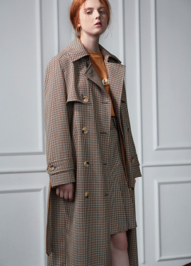 [CLUE DE CLARE]check trench coat beige