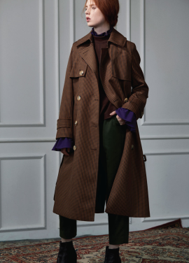 [CLUE DE CLARE]check trench coat brown