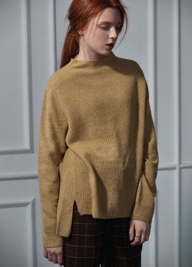 [CLUE DE CLARE]half neck sweater beige
