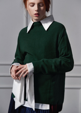 [CLUE DE CLARE]half neck sweater green