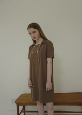 [ADDSENSE/핫섬머클리어런스50%]TWO LINE SQUARE ONE PIECE_BROWN