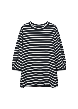 Stripe Sleeve Slit T-Shirts
