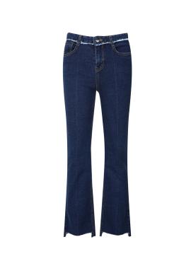 Fringe Detail Semi Boots Cut Jeans