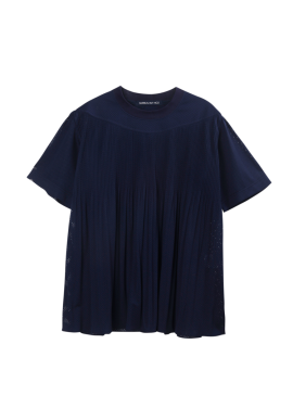 [SURREALBUTNICE] PLEATS TOP NAVY