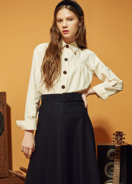 ★ Cotton Blend Big Button Blouse
