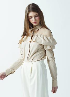 [저스트인스타일/SS시즌오프  50%/이주연 정시아 착용] 숄더 쉬폰 셔츠 (4color)