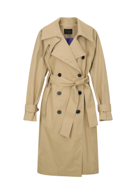 High Neck Double Button Trench Coat