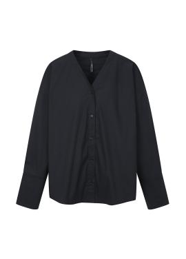 Sleeve Colorblock V-Neck Blouse [홍수현 착용]