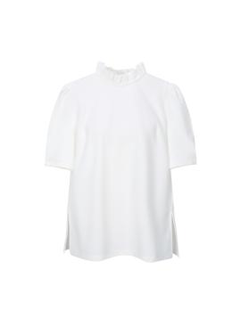 Neck Frill Detail Short Sleeve T-Shirts