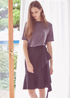 [THEROOM]STRING WRAP SKIRT_BLACK