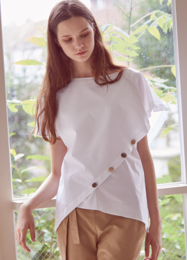 [THEROOM]BOTTON DOWN WRAP BLOUSE_WHITE