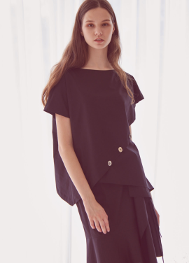 [THEROOM]BOTTON DOWN WRAP BLOUSE_BLACK