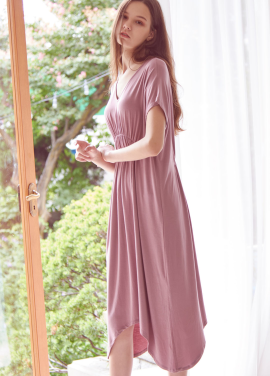 [THE LOOM/시즌오프!/30%]SHIRRING JERSEY ONEPIECE_PINK