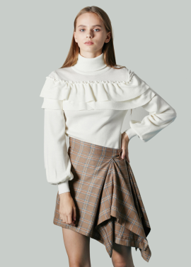[JUST IN STYLE/시즌오프!/50%] Shoulder Frill Knit Top