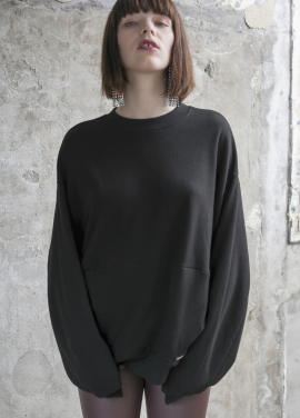 [PINBLACK]soft coccon sweat shirt black