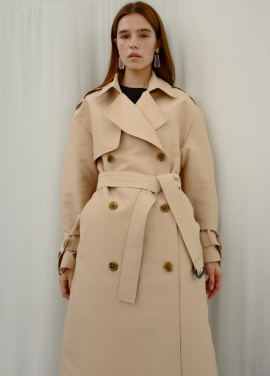 [ADDSENSE/10%+5%COUPON]BUTTON POINT TRENCHCOAT_BEIGE