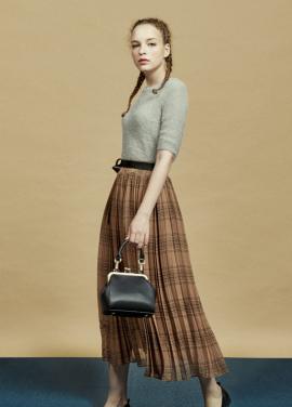 [URAGO/9월신상출시/5%+5%COUPON]check pleats long skirt